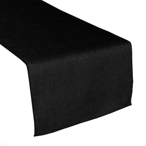 Faux Burlap Table Runner Solid Black