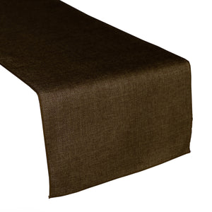 Faux Burlap Table Runner Solid Brown