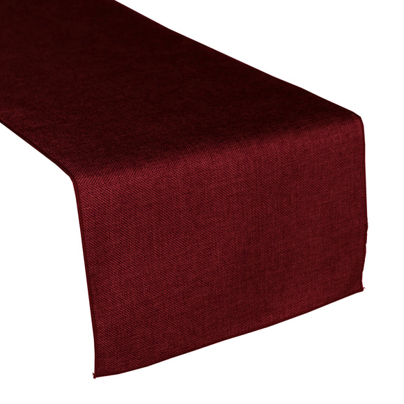 Faux Burlap Table Runner Solid Burgundy