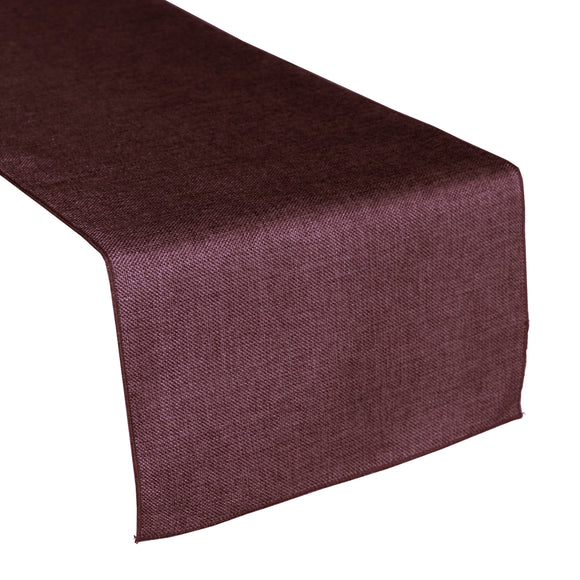 Faux Burlap Table Runner Solid Eggplant