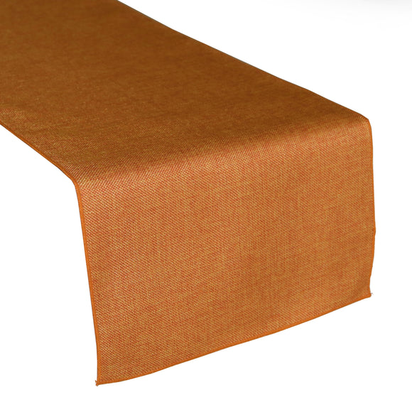 Faux Burlap Table Runner Solid Orange