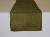 Faux Burlap Table Runner Solid Olive