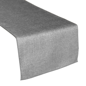 Faux Burlap Table Runner Solid Silver