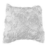 Satin Rosette Decorative Throw Pillow/Sham Cushion Cover White