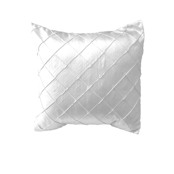 Pintuck Taffeta Decorative Throw Pillow/Sham Cushion Cover White