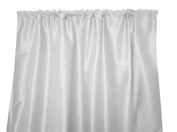 Faux Silk Solid Dupioni Window Curtain 56 Inch Wide White