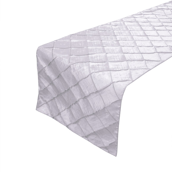 Pintuck Taffeta Table Runner White