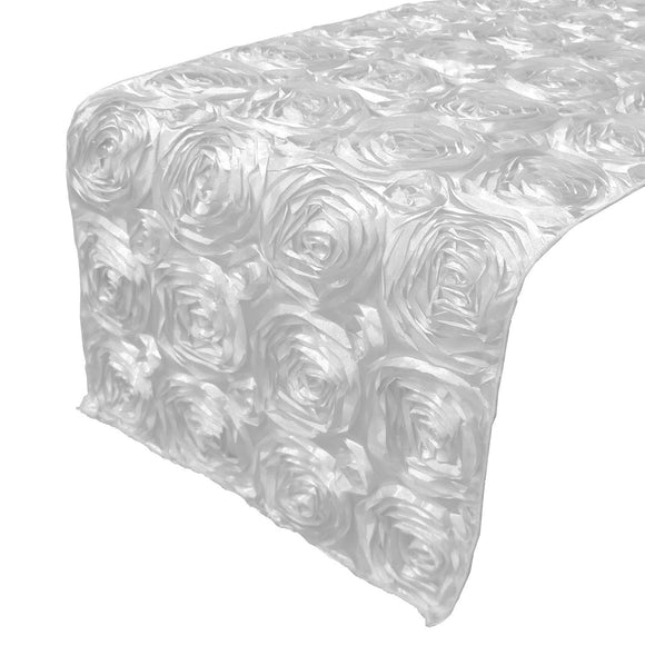 Satin Rosette Table Runner Raised Roses White