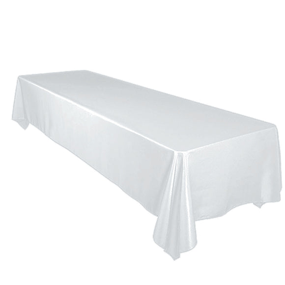 Shiny Satin Solid Tablecloth White