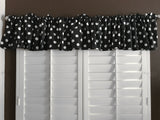 "Cotton Polka Dots Window Valance 58"" Wide White on Black"