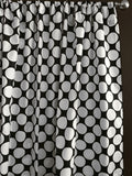 Cotton Polka Dots Window Curtain 58 Inch Wide Large Dots White on Black