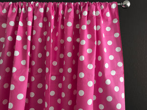 Cotton Polka Dots Window Curtain 58 Inch Wide White on Fuchsia