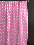 Cotton Polka Dots Window Curtain 58 Inch Wide White on Pink
