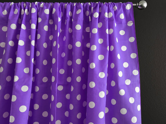 Cotton Polka Dots Window Curtain 58 Inch Wide White on Purple