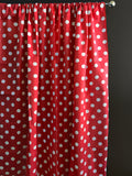 Cotton Polka Dots Window Curtain 58 Inch Wide White on Red