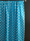 Cotton Polka Dots Window Curtain 58 Inch Wide White on Turquoise