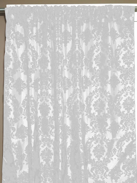Flocking Damask Taffeta Window Curtain 56 Inch Wide White on White