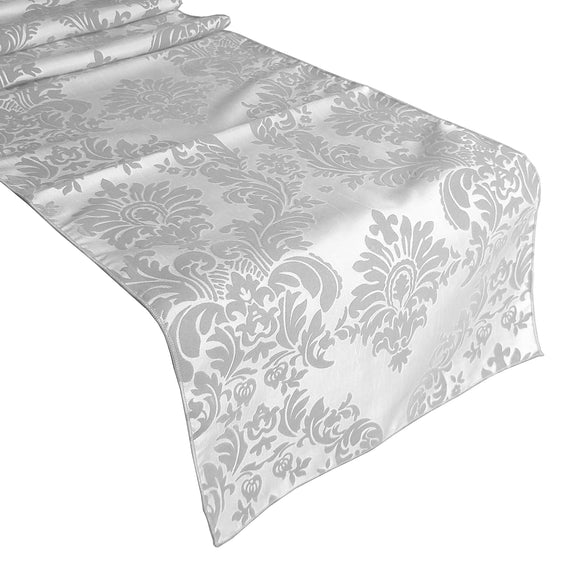 Flocked Damask Table Runner White on White