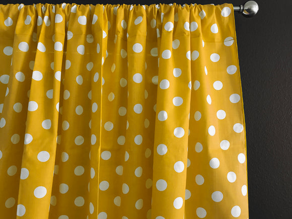 Cotton Polka Dots Window Curtain 58 Inch Wide White on Yellow
