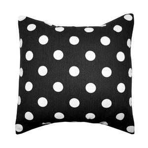 Cotton Polka Dots Decorative Throw Pillow/Sham Cushion Cover White on Black