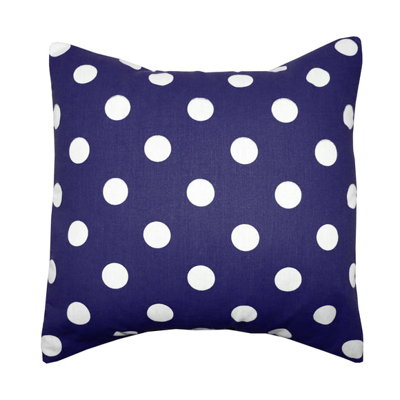 Cotton Polka Dots Decorative Throw Pillow/Sham Cushion Cover White on Navy
