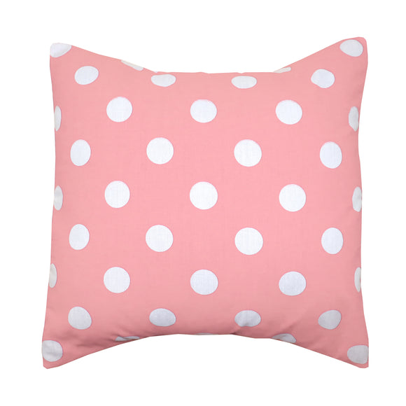 Cotton Polka Dots Decorative Throw Pillow/Sham Cushion Cover White on Pink