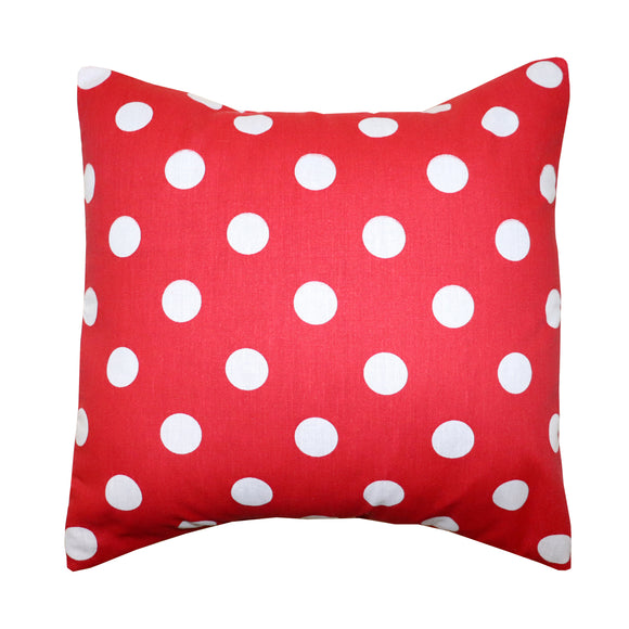 Cotton Polka Dots Decorative Throw Pillow/Sham Cushion Cover White on Red