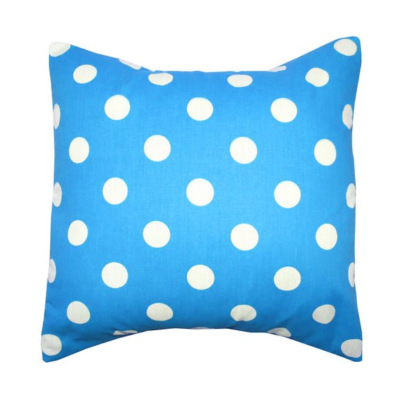 Cotton Polka Dots Decorative Throw Pillow/Sham Cushion Cover White on Turquoise