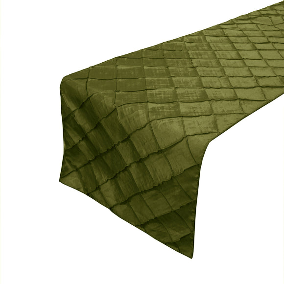 Pintuck Taffeta Table Runner Olive