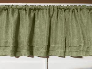 "Faux Burlap Window Valance 58"" Wide with Pleated Ruffles Willow"