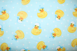 "100% Cotton Flannel Children's Prints Window Valance 42"" Wide Winter Ducks Blue"