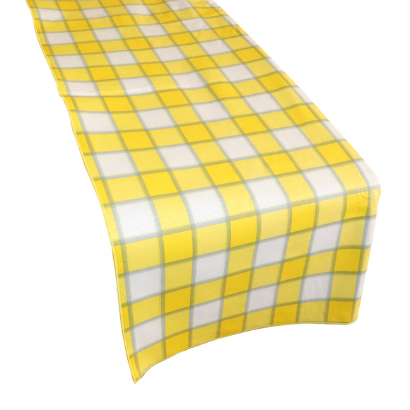 Plastic Table Runner Non-Slip Flannel Backing - Yellow Plaid Checkered