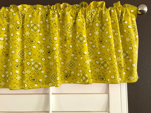 "Cotton Bandanna Window Valance 58"" Wide Yellow"