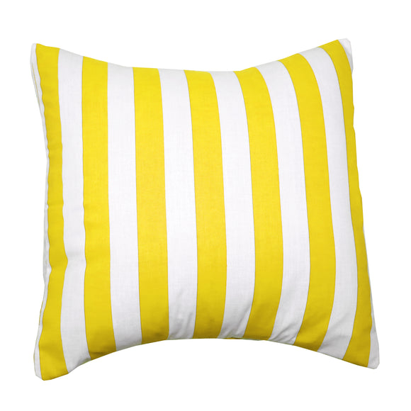 Cotton 1 Inch Stripe Decorative Throw Pillow/Sham Cushion Cover Yellow and White