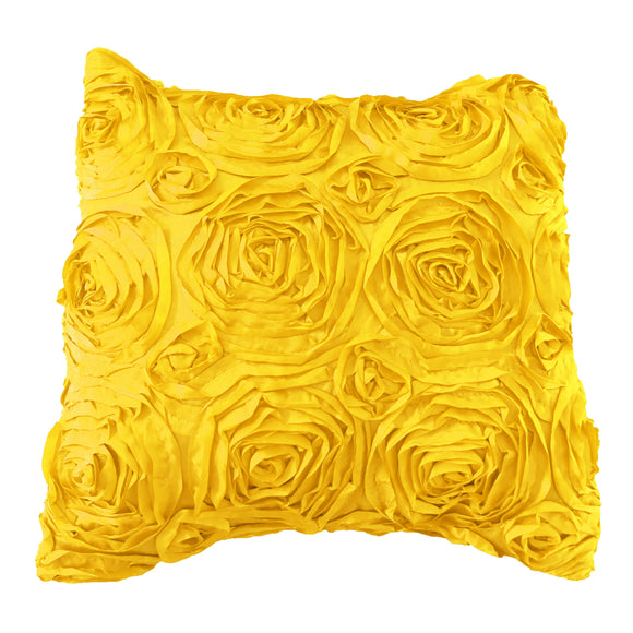 Satin Rosette Decorative Throw Pillow/Sham Cushion Cover Yellow