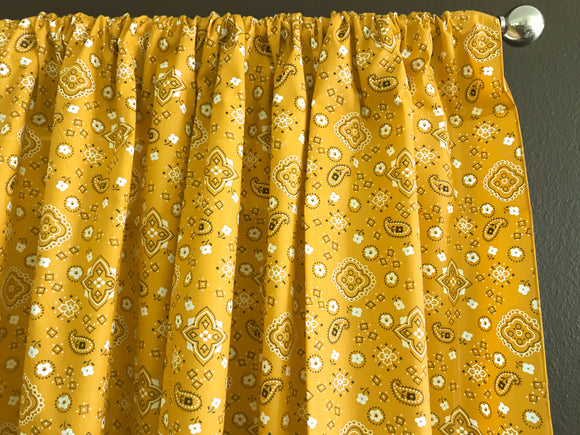 Cotton Bandanna Window Curtain 58 Inch Wide Yellow