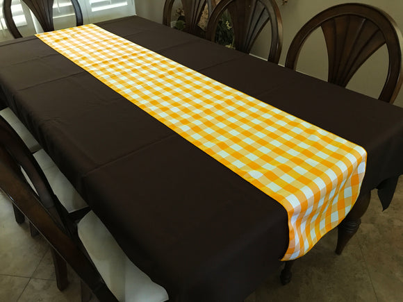 Poplin Table Runner Gingham Checkered Dark Yellow