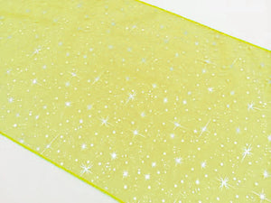 Light Weight Sheer Organza with Silver Stars Decorative Table Runner Yellow