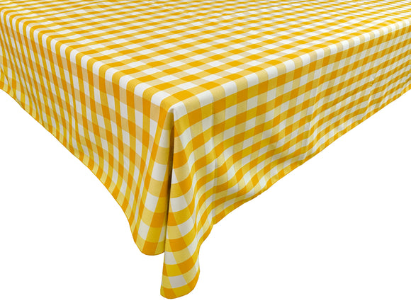 Poplin Gingham Checkered Plaid Tablecloth Dark Yellow