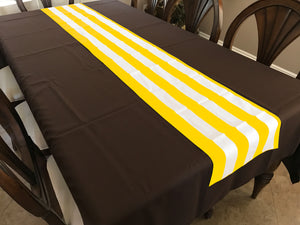 Cotton Print Table Runner 2 Inch Wide Stripes Yellow