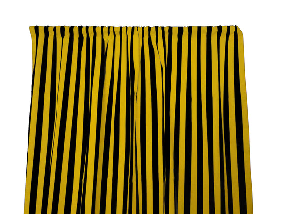 Cotton Stripe Window Curtain 58 Inch Wide 1 Inch Stripe Yellow and Black