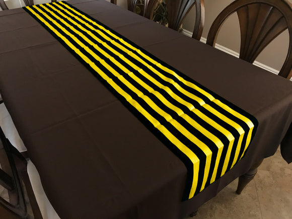 Cotton Print Table Runner 1 Inch Wide Stripes Yellow and Black
