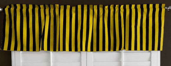 Cotton Window Valance Stripe Print 58 Inch Wide / 1 Inch Stripe Yellow and Black