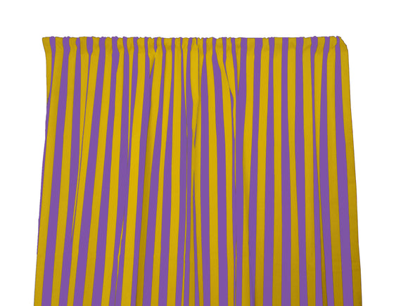 Cotton Stripe Window Curtain 58 Inch Wide 1 Inch Stripe Yellow and Purple