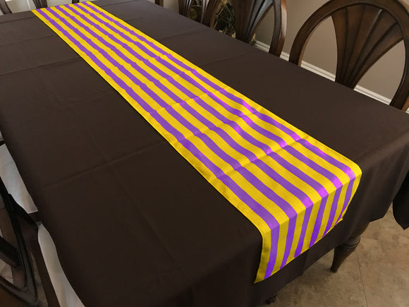 Cotton Print Table Runner 1 Inch Wide Stripes Yellow and Purple