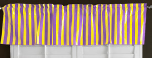 "Cotton Stripe Window Valance 58"" Wide 1 Inch Stripe Yellow and Purple"