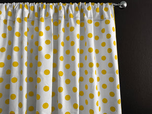 Cotton Polka Dots Window Curtain 58 Inch Wide Yellow on White