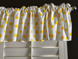 "Cotton Polka Dots Window Valance 58"" Wide Yellow on White"