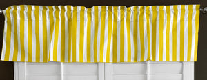 "Cotton Stripe Window Valance 58"" Wide 1 Inch Stripe Yellow and White"