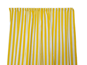 Cotton Stripe Window Curtain 58 Inch Wide 1 Inch Stripe Yellow and White